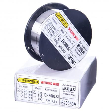 Drut do spawania stali nierdzewnej MAG 308LSi 0.8 mm 1kg SUPERWELD